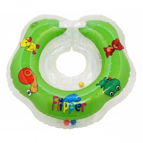 Plaukimo ratas kūdikiams ant kaklo Flipper žalias
